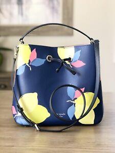 Kate Spade Eva Lemon Zest Large Bucket Bag Blue Yellow Crossbody Bag $379
