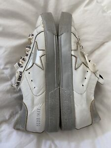 """GOLDEN GOOSE """"May""""  Leather Sneakers shoes Metallic White/silver 38 US 7 GGDB"""