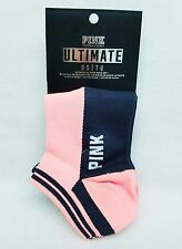 2 PAIRS Victoria's Secret Pink PEACH ORANGE Black No-Show Ultimate Ankle Socks