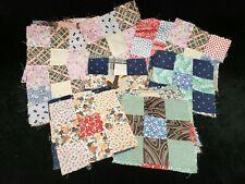 27 Vintage Antique Quilt Blocks Cotton Fabric 9 Patch Depression Era 1900s-30