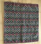 """Vtg Wool Rug 34.5"""" by 31.5"""" Red Black Brown Triangle pattern"""