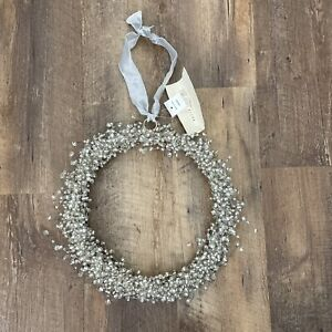 Pottery Barn Pepperberry Holiday Wreath Beaded Silver White Clear NEW WITH TAG