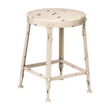 Artisan Distressed Cream Bar Stool Metal Industrial Café Breakfast Kitchen Chair