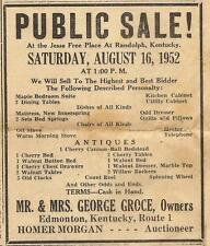GEORGE GROCE AUCTION AD FROM THE GLASGOW REPUBLICAN (KY) AUGUST 7, 1952
