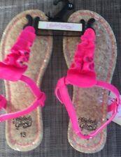 New Faded Glory Missy Girls' Ruffle Toe Sandals Shoes Pink sz 13