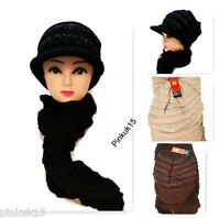 New Womens Ladies Fashion Knitted Peak Cap Hat and Scarf Full Set Winter Gift