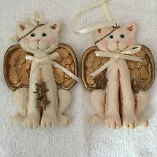 Lot of two Kurt S Adler white angel cat Christmas tree ornaments rosy cheeks