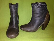 Slate Green Fly London Zip-Up Ankle Boots with Brown Rubber Heels 6.5 37