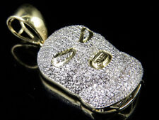 "Mens 10K Yellow Gold SKI Goon Mask Ice Out Diamond Charm Pendant 3/5CT 1.25"""