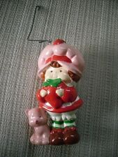 Vintage 1984 Ceramic Strawberry Shortcake Ornament Girl Figurine w/ pink cat