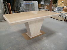 designer solid travertine marble dining or office table 180x90cm, tapered base