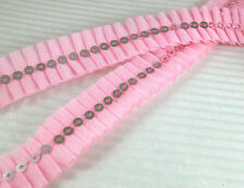 """3/4"""" Sparkling Sequin Pleated Trim x 4 yards~Pink"""