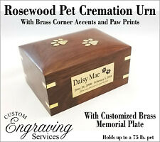 PET CREMATION URN ROSEWOOD URN BRASS CORNER ACCENTS BRASS PAWS - ROSEWOODPAWS-1