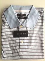 Kitaro Men Polo-Shirt Herren Kurzarm Hellblau Gestreift Baumwolle Gr. M