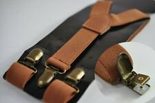 Tan Brown Elastic Suspenders Braces with Bronze Metal Clips For all ages