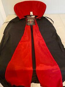 NEW Vampire Cape Red Black Collared Dracula Halloween Costume Child Kids 3ft