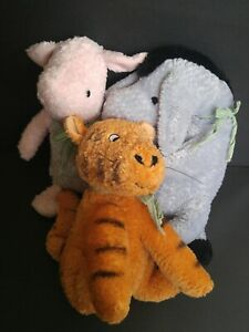 3 Classic Winnie the Pooh Plush Toys - Piglet Eeyore Tigger Stuffed Animals