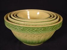 RARE CREAM & GREEN 5 GRADUATED BOWL SET HULL GOTHIC PATTERN YELLOW WARE