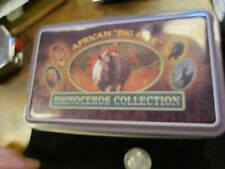"new in tin African ""big five"" RHINOCEROS collection  8"" one - blade pocket knife"