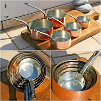 Beautiful French Set of 5 Copper Pans Sauce Pan ~ Cast Iron Handles 9.04lbs