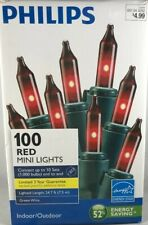 Philips 100 Ct Red Mini Lights Energy Star 24.7 ft Green Wire FREE SHIPPING