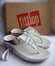 New Fitflop Cha Cha Fringe Toe Thong Metallic PU Silver ToePost Sandals Box Sz 6
