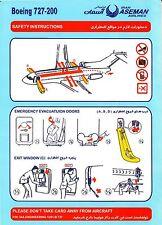 Safety Card IRAN ASEMAN Boeing 727-200 light blue *SUPER RARE*PERFECT*ORIGINAL