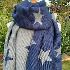 STARS STAR SCARF NAVY BLUE & GREY CRINKLE STRETCHY REVERSIBLE WOOL & COTTON