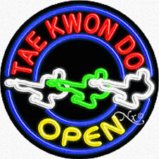 "Brand New ""Tae Kwon Do Open"" 26x26x3 Round Real Neon Sign w/Custom Options 11167"