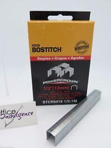 """1 x Bostitch Tacker Staples STCR5019 12mm 1/2 """" 1000/Box STCR501912MM1M"""