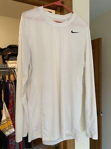 New Nike Dri-Fit Long Sleeve Shirt Pullover White Nylon Mens Large