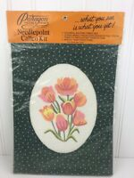 Paragon Needlecraft Tulip Needlepoint Calico Kit 5038 with Oval Mat Pink Flowers