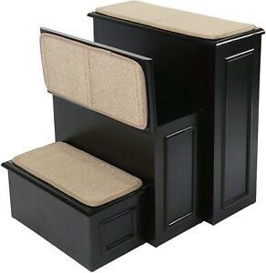 NEW Gen7Pets Conversion Pet Steps 3-Step Staircase w/ Storage Compartment Black