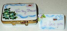 Limoges Box - Artoria - Envelope & Stamp & Love Letter - Flowers & Hearts & Dove