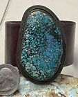 Beautiful Navajo Sterling & Huge Spiderweb Turquoise Leather Band Bracelet See!