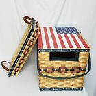 American Patriotic Flag Picnic Basket W/Matching Inner Tray. Double Handled EUC