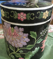 Ginger Jar Large Black With Flowers Handpainted