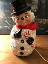 Vintage Ceramic Christmas Snowman Light With Lit Pinholes! Candy Cane in Arm!