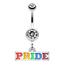 Rainbow Pride Dangle Belly Navel Button Ring Clear 14G