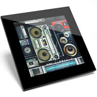 1 x Cool Vintage Retro Radio Cassette Tape Boombox Art Glass Coaster Gift #14242