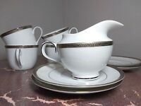 Charter Club Grand Buffet Classic Platinum Lot of 4 Cups & Saucers & 1 creamer