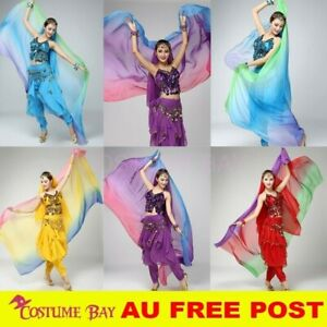 Adults Belly Dance Costume Bollywood Chiffon Sequins Head Gradient Scarf Scarves