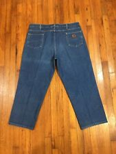 CARHARTT RELAXED FIT MENS WORK BLUE JEANS TAG 44 ACTUAL SIZE 42W x 29L VGC USA