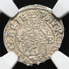 HUNGARY. Mint State Ferdinand I Silver Denar, 1555-KB, NGC MS62