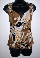 Laura Petite Size Medium Womens Brown Print Sleeveless Blouse