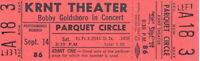 BOBBY GOLDSBORO 1968 HONEY TOUR UNUSED KRNT CONCERT TICKET / NMT 2 MINT No. 1