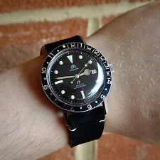 OLLECH & WAJS Swiss 1960s Precision Vintage Divers Watch Black Dial Jumbo 38mm