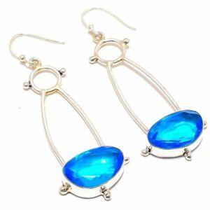 """Blue Topaz Gemstone Handmade Ethnic 925 Sterling Silver Earring 2.7"""""""