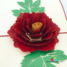 Handmade Red Peony Flower Pop Up Greeting Card, Pop Up Mother's Day Cards