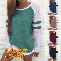 UK Womens Long Sleeve Casual Ladies Tops Baggy Striped Blouse T Shirts Plus Size